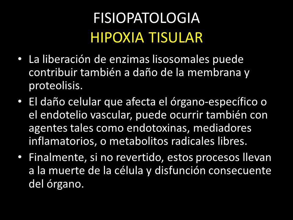 FISIOPATOLOGIA HIPOXIA TISULAR La liberación de enzimas lisosomales puede contribuir también a daño de la membrana y proteolisis. El daño celular que