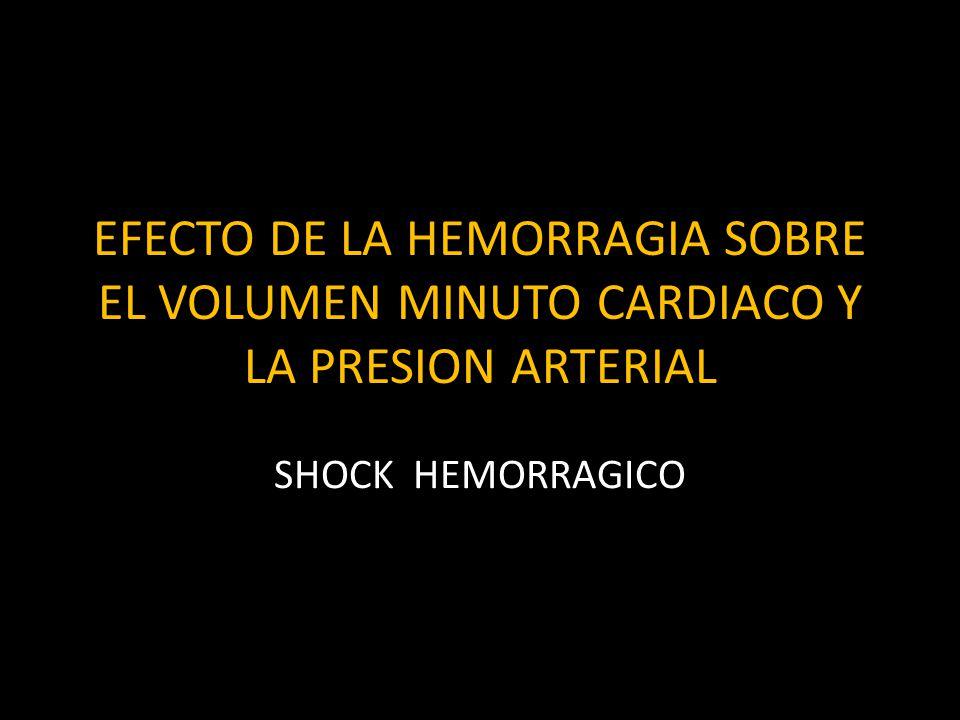 EFECTO DE LA HEMORRAGIA SOBRE EL VOLUMEN MINUTO CARDIACO Y LA PRESION ARTERIAL SHOCK HEMORRAGICO