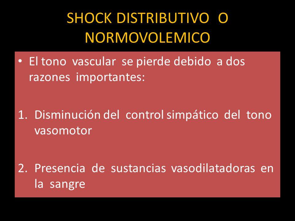 SHOCK DISTRIBUTIVO O NORMOVOLEMICO El tono vascular se pierde debido a dos razones importantes: 1.Disminución del control simpático del tono vasomotor