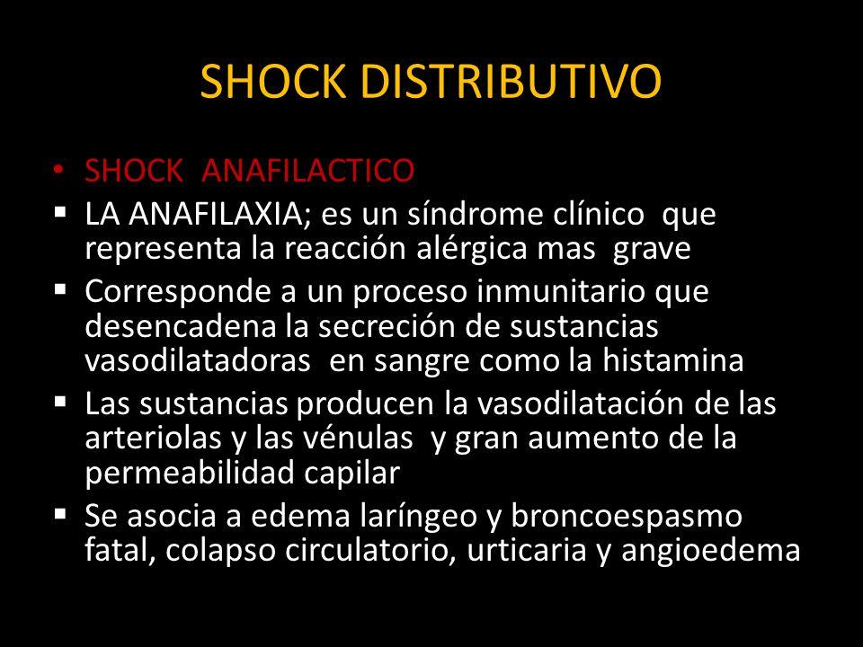 SHOCK DISTRIBUTIVO SHOCK ANAFILACTICO LA ANAFILAXIA; es un síndrome clínico que representa la reacción alérgica mas grave Corresponde a un proceso inm