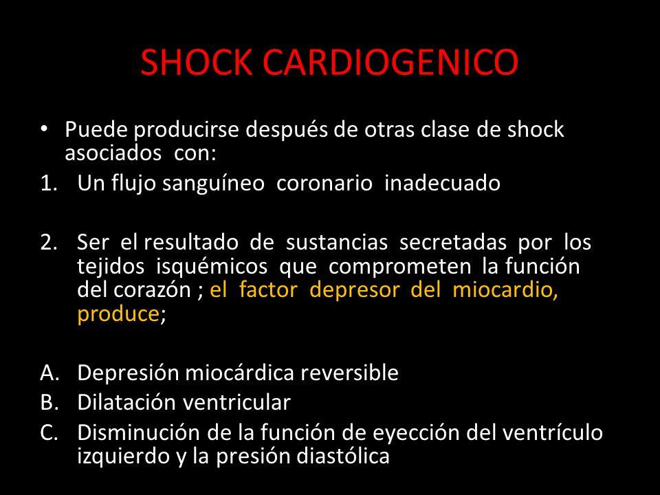 SHOCK CARDIOGENICO Puede producirse después de otras clase de shock asociados con: 1.Un flujo sanguíneo coronario inadecuado 2.Ser el resultado de sus