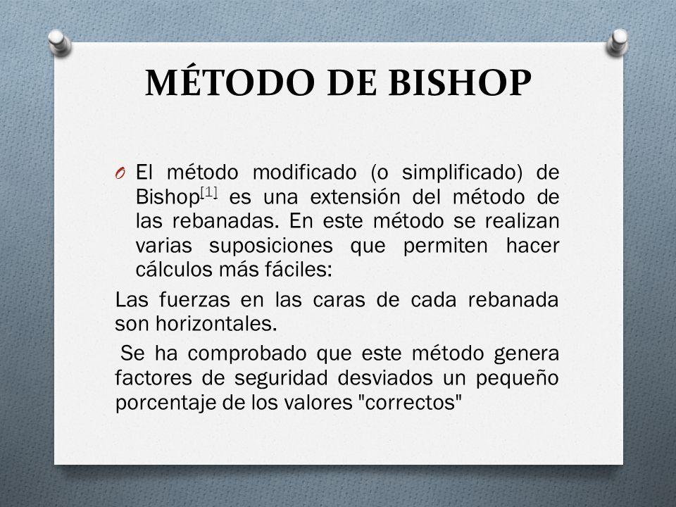 MÉTODO DE BISHOP O El método modificado (o simplificado) de Bishop [1] es una extensión del método de las rebanadas. En este método se realizan varias