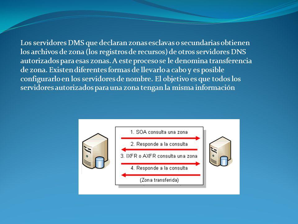 Los servidores DMS que declaran zonas esclavas o secundarias obtienen los archivos de zona (los registros de recursos) de otros servidores DNS autoriz