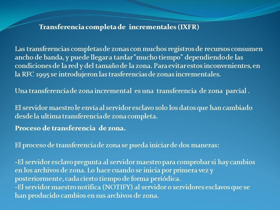 Transferencia completa de incrementales (IXFR) Las transferencias completas de zonas con muchos registros de recursos consumen ancho de banda, y puede