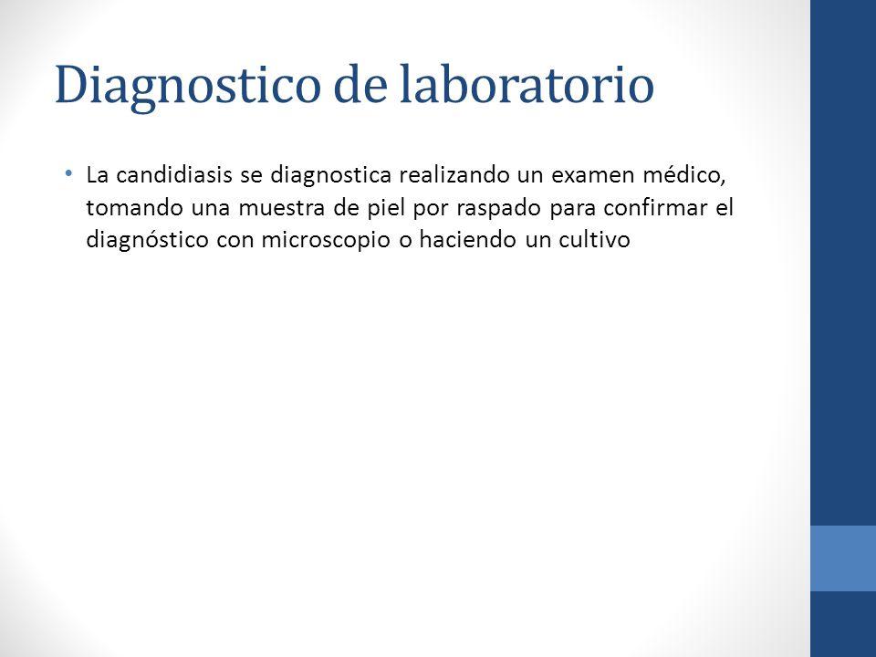 Diagnostico de laboratorio La candidiasis se diagnostica realizando un examen médico, tomando una muestra de piel por raspado para confirmar el diagnó
