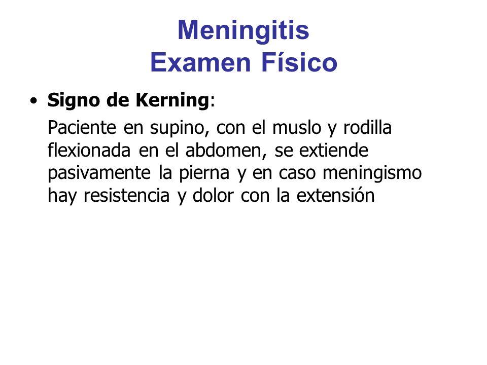 Meningitis Examen Físico Signo de Kerning: Paciente en supino, con el muslo y rodilla flexionada en el abdomen, se extiende pasivamente la pierna y en