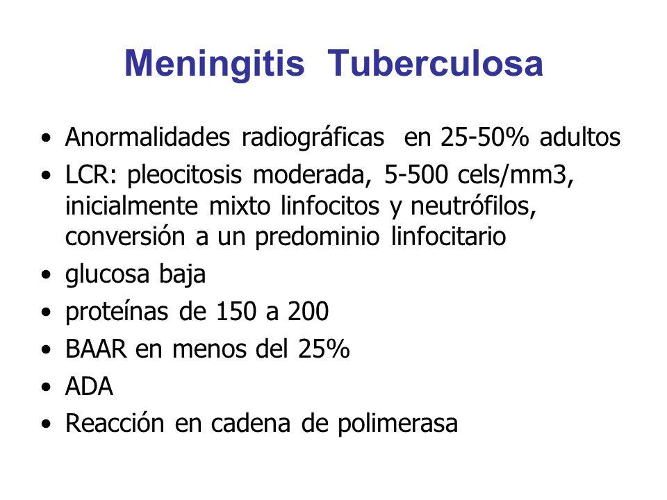 Meningitis Tuberculosa Anormalidades radiográficas en 25-50% adultos LCR: pleocitosis moderada, 5-500 cels/mm3, inicialmente mixto linfocitos y neutró
