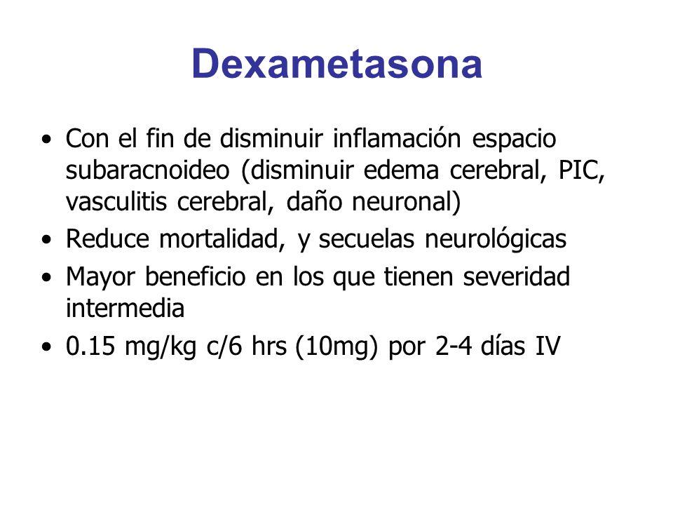 Dexametasona Con el fin de disminuir inflamación espacio subaracnoideo (disminuir edema cerebral, PIC, vasculitis cerebral, daño neuronal) Reduce mort