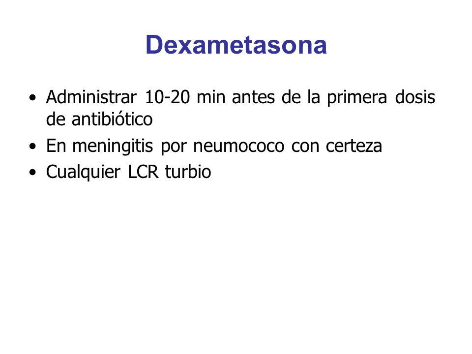 Dexametasona Administrar 10-20 min antes de la primera dosis de antibiótico En meningitis por neumococo con certeza Cualquier LCR turbio