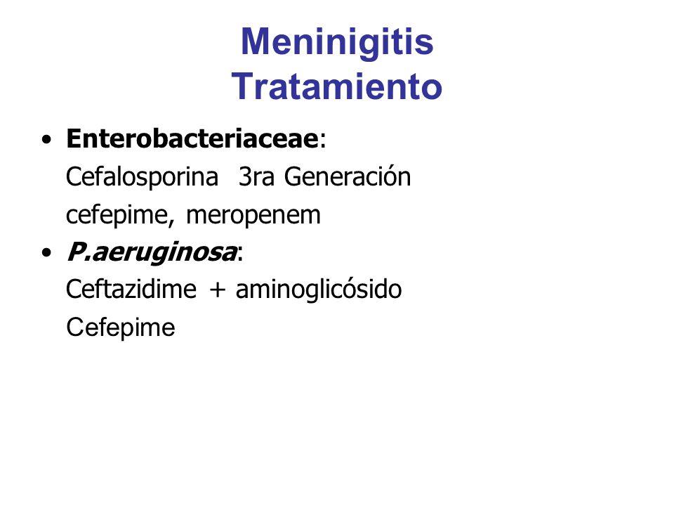 Meninigitis Tratamiento Enterobacteriaceae: Cefalosporina 3ra Generación cefepime, meropenem P.aeruginosa: Ceftazidime + aminoglicósido Cefepime
