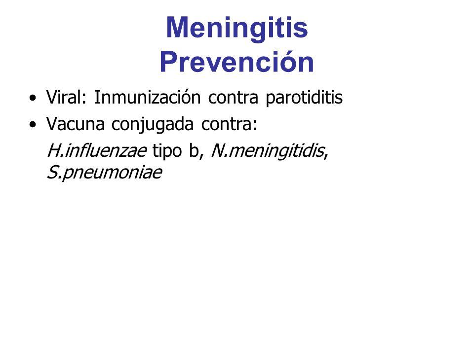 Meningitis Prevención Viral: Inmunización contra parotiditis Vacuna conjugada contra: H.influenzae tipo b, N.meningitidis, S.pneumoniae