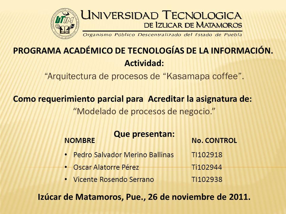 PROGRAMA ACADÉMICO DE TECNOLOGÍAS DE LA INFORMACIÓN. Actividad: Arquitectura de procesos de Kasamapa coffee. Como requerimiento parcial para Acreditar