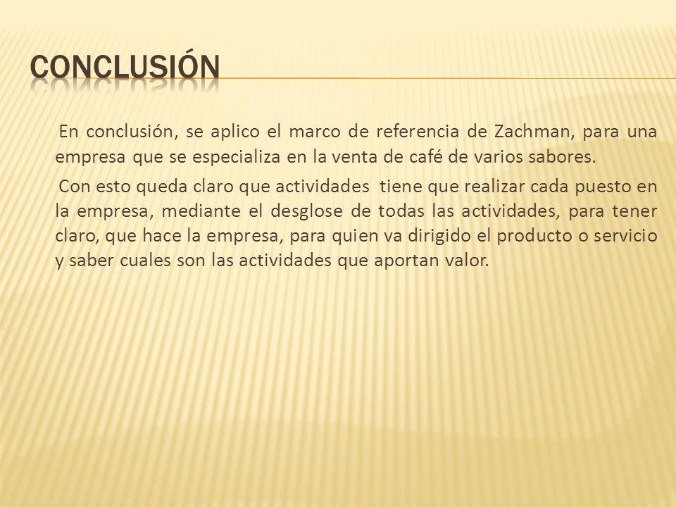 En conclusión, se aplico el marco de referencia de Zachman, para una empresa que se especializa en la venta de café de varios sabores. Con esto queda