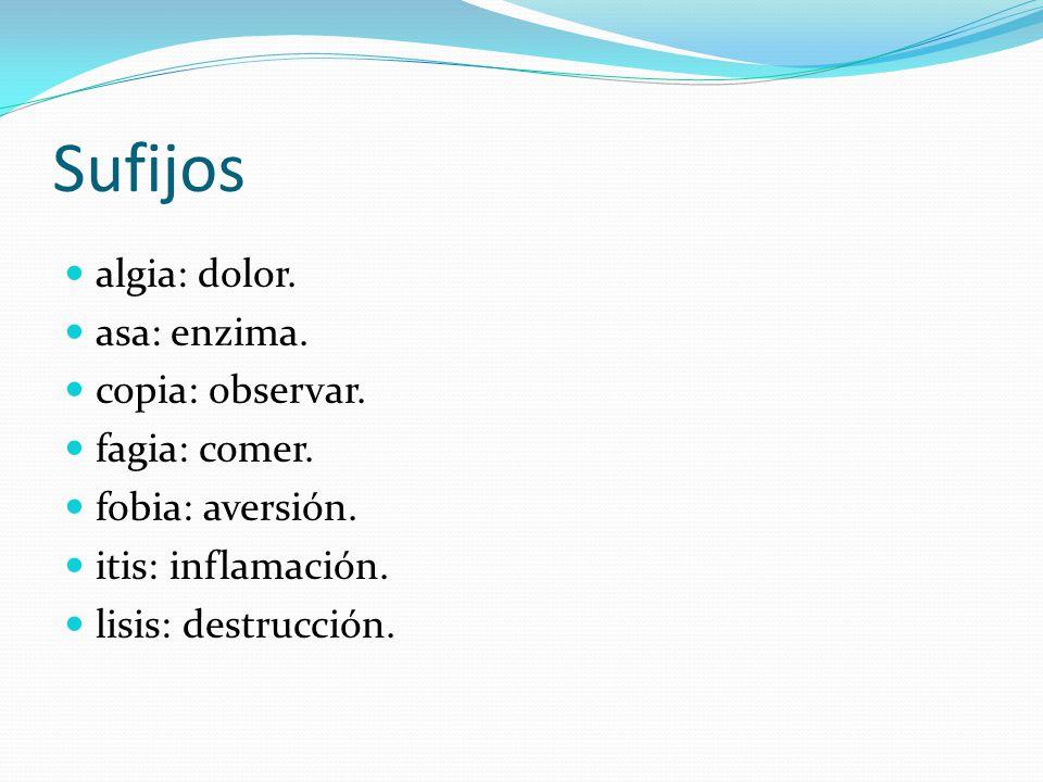 Sufijos algia: dolor. asa: enzima. copia: observar. fagia: comer. fobia: aversión. itis: inflamación. lisis: destrucción.