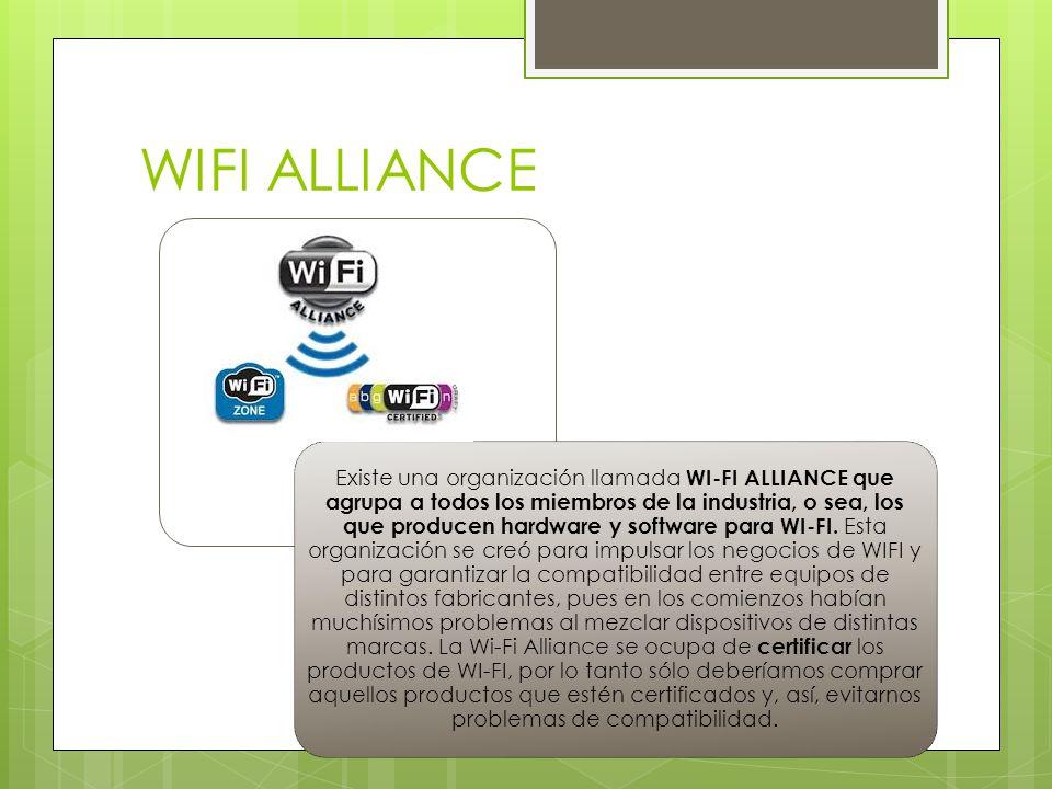 WIFI ALLIANCE Existe una organización llamada WI-FI ALLIANCE que agrupa a todos los miembros de la industria, o sea, los que producen hardware y softw