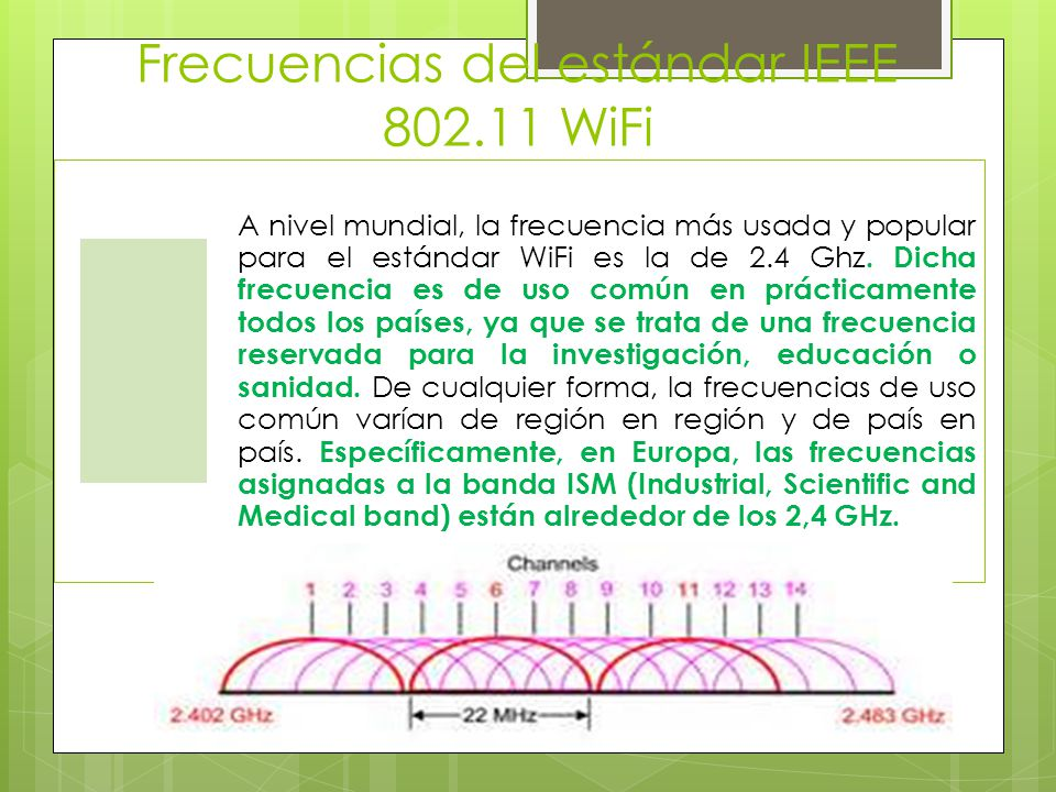 Frecuencias del estándar IEEE 802.11 WiFi A nivel mundial, la frecuencia más usada y popular para el estándar WiFi es la de 2.4 Ghz. Dicha frecuencia