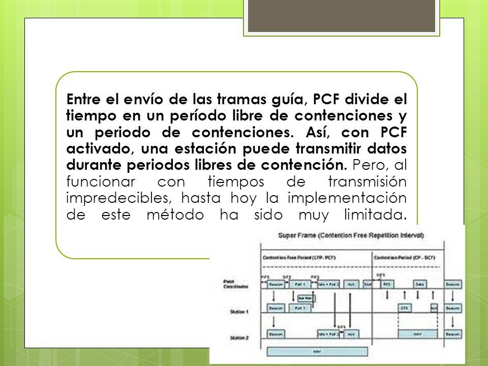 Entre el envío de las tramas guía, PCF divide el tiempo en un período libre de contenciones y un periodo de contenciones. Así, con PCF activado, una e