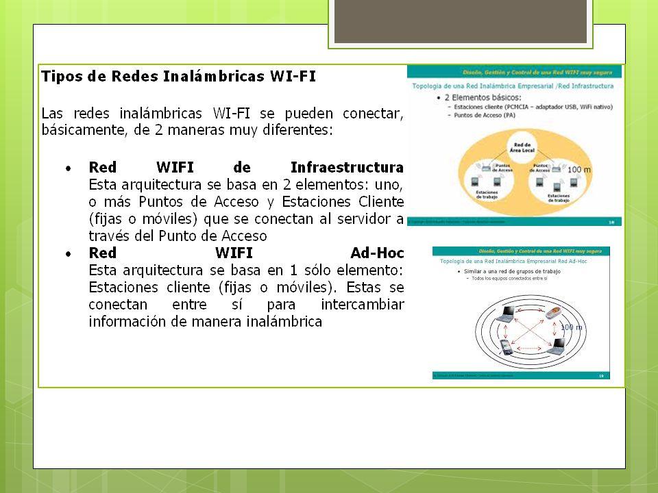 COMPONENTES BASICOS Elementos de una red Wifi: http://polimedia.upv.es/visor/?id=f79350fa- 85a5-f64c-b3ce-8f84ad582ab4