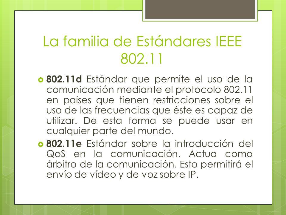 La familia de Estándares IEEE 802.11 802.11d Estándar que permite el uso de la comunicación mediante el protocolo 802.11 en países que tienen restricc