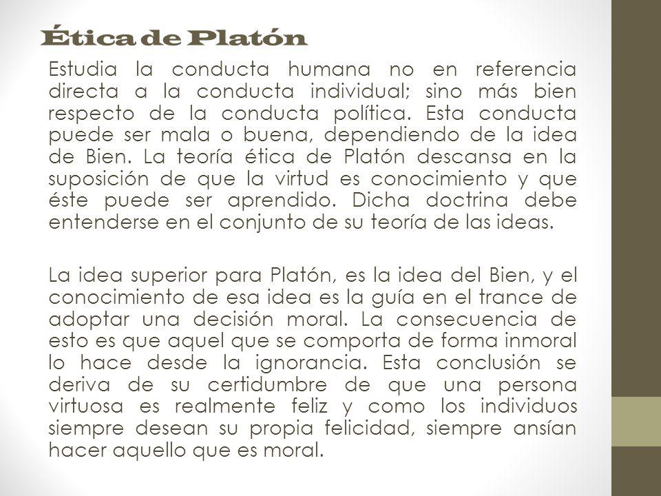 Ética de Platón Estudia la conducta humana no en referencia directa a la conducta individual; sino más bien respecto de la conducta política.