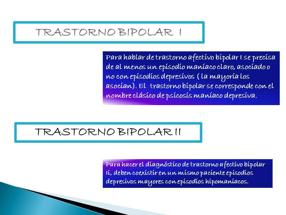 Para hablar de trastorno afectivo bipolar I se precisa de al menos un episodio maníaco claro, asociado o no con episodios depresivos ( la mayoría los