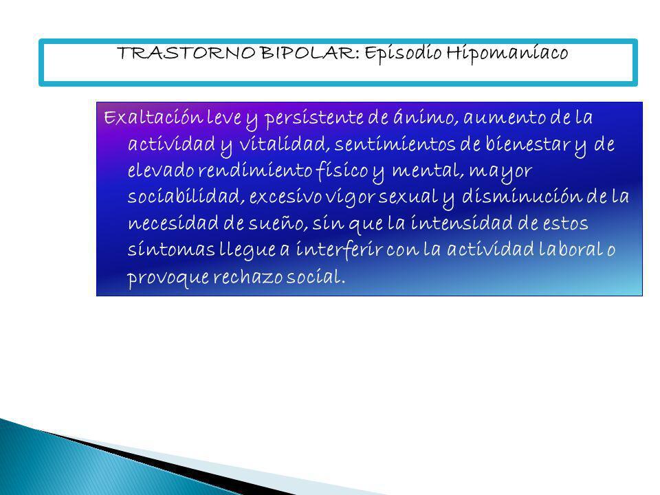 TRASTORNO BIPOLAR: Episodio Depresivo Episodio con las características de un episodio depresivo que suele instalarse más rápidamente sin factores precipitantes identificables, con tendencias al retardo psicomotor, con hiperfagia, hipersomnia e incluso fenómenos productivos.