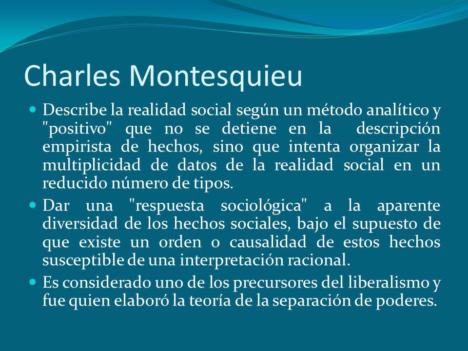 Charles Montesquieu Describe la realidad social según un método analítico y