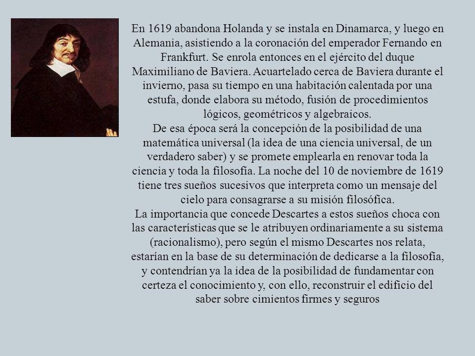 En 1619 abandona Holanda y se instala en Dinamarca, y luego en Alemania, asistiendo a la coronación del emperador Fernando en Frankfurt. Se enrola ent