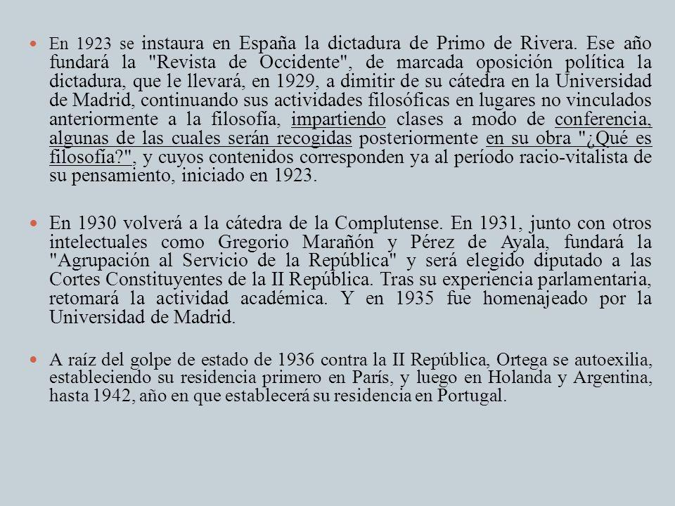 En 1923 se instaura en España la dictadura de Primo de Rivera. Ese año fundará la