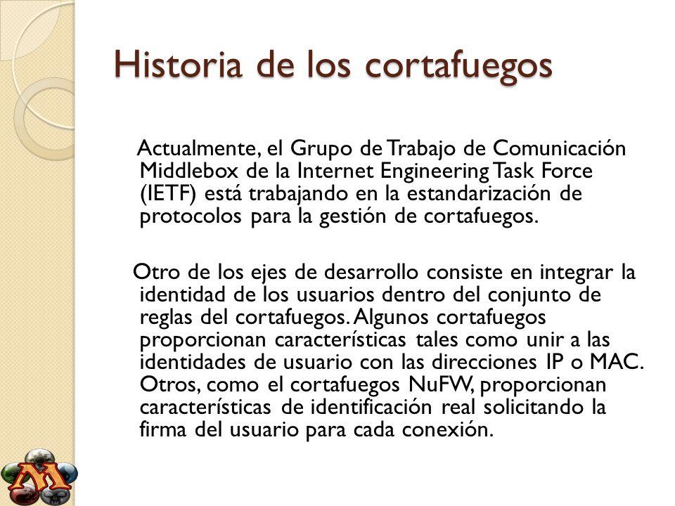 Historia de los cortafuegos Actualmente, el Grupo de Trabajo de Comunicación Middlebox de la Internet Engineering Task Force (IETF) está trabajando en