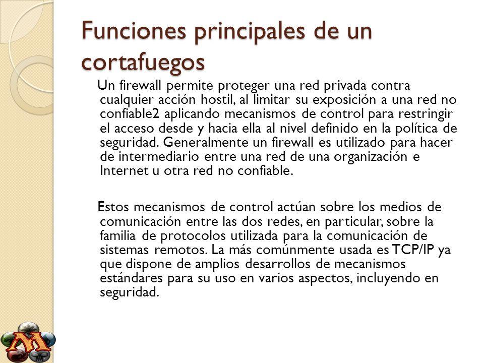 Funciones principales de un cortafuegos Un firewall permite proteger una red privada contra cualquier acción hostil, al limitar su exposición a una re