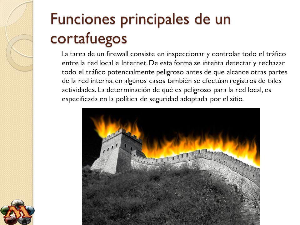 Funciones principales de un cortafuegos La tarea de un firewall consiste en inspeccionar y controlar todo el tráfico entre la red local e Internet. De