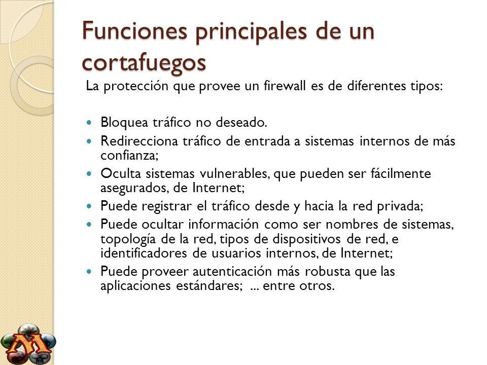 Funciones principales de un cortafuegos La protección que provee un firewall es de diferentes tipos: Bloquea tráfico no deseado. Redirecciona tráfico