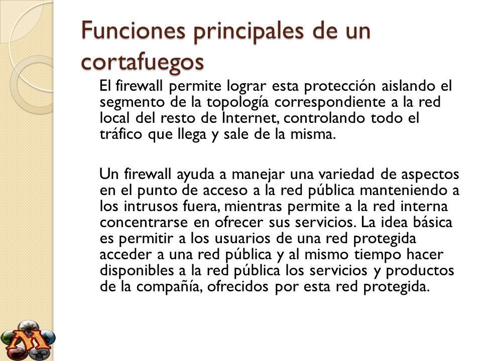 Funciones principales de un cortafuegos El firewall permite lograr esta protección aislando el segmento de la topología correspondiente a la red local