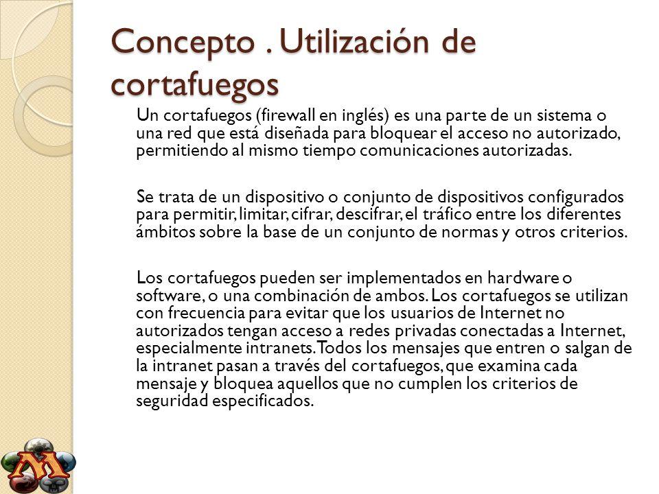 Tipos de cortafuegos Clasificación por ubicación - Cortafuegos personales (para PC) - Cortafuegos para pequeñas oficinas (SOHO) - Equipos hardware específicos - Cortafuegos corporativos