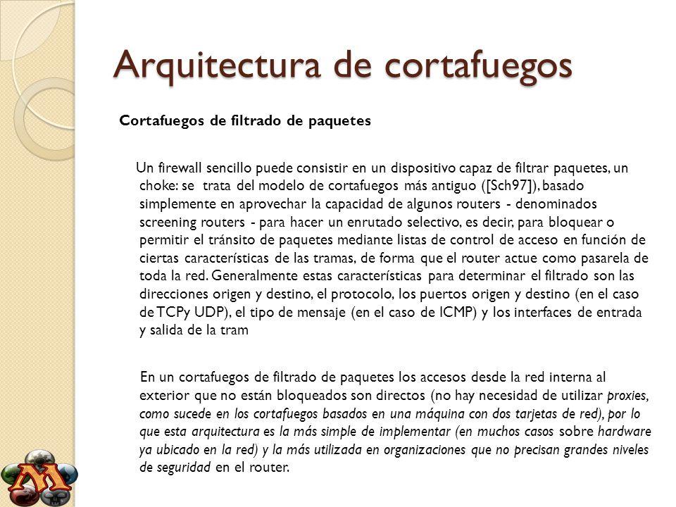 Arquitectura de cortafuegos Cortafuegos de filtrado de paquetes Un firewall sencillo puede consistir en un dispositivo capaz de filtrar paquetes, un c
