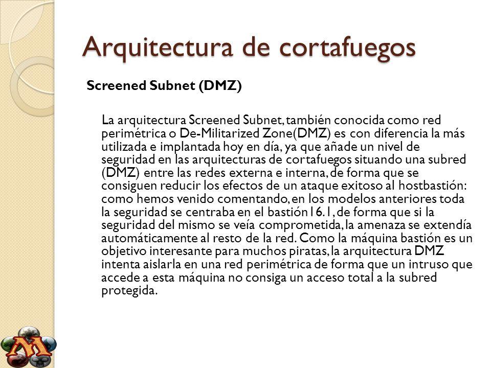 Arquitectura de cortafuegos Screened Subnet (DMZ) La arquitectura Screened Subnet, también conocida como red perimétrica o De-Militarized Zone(DMZ) es