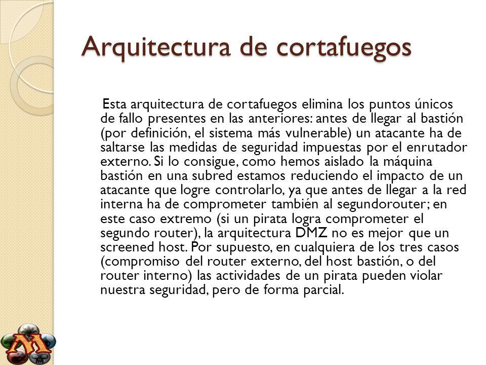 Arquitectura de cortafuegos Esta arquitectura de cortafuegos elimina los puntos únicos de fallo presentes en las anteriores: antes de llegar al bastió