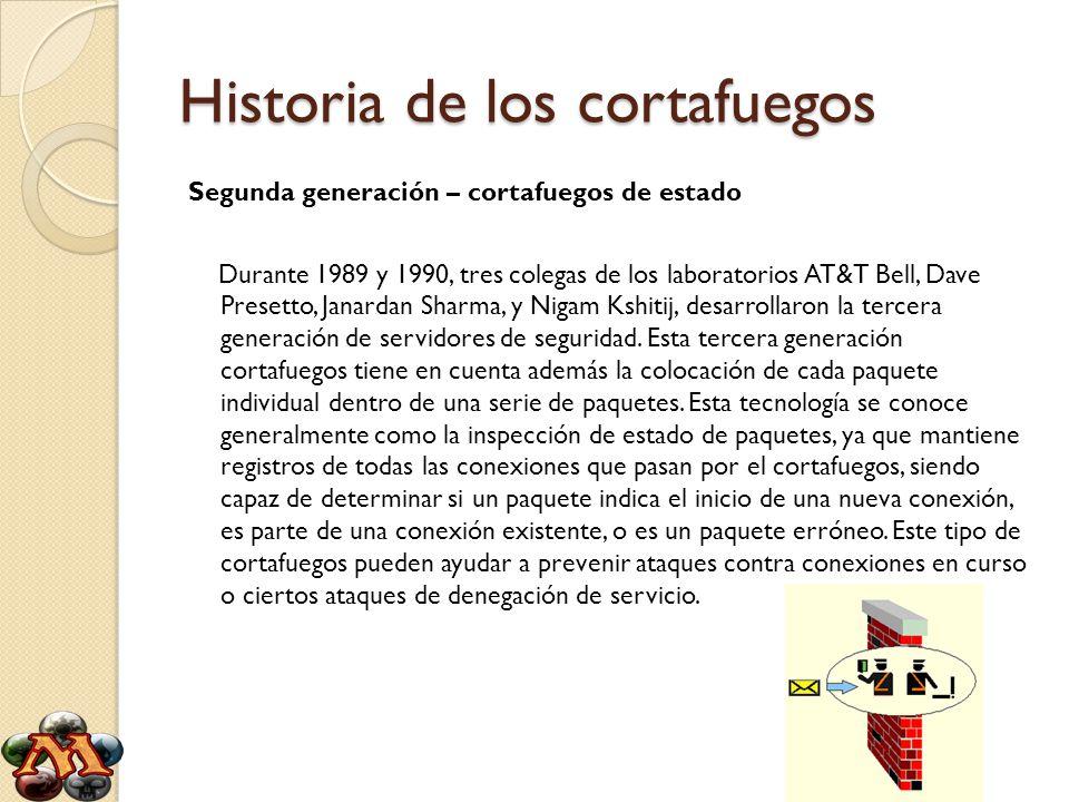 Historia de los cortafuegos Segunda generación – cortafuegos de estado Durante 1989 y 1990, tres colegas de los laboratorios AT&T Bell, Dave Presetto,