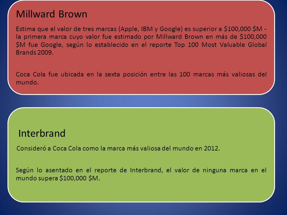 Millward Brown Estima que el valor de tres marcas (Apple, IBM y Google) es superior a $100,000 $M - la primera marca cuyo valor fue estimado por Millward Brown en más de $100,000 $M fue Google, según lo establecido en el reporte Top 100 Most Valuable Global Brands 2009.