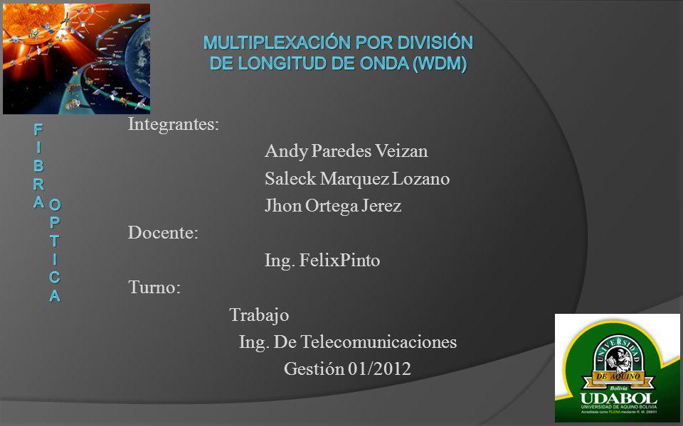 Integrantes: Andy Paredes Veizan Saleck Marquez Lozano Jhon Ortega Jerez Docente: Ing. FelixPinto Turno: Trabajo Ing. De Telecomunicaciones Gestión 01