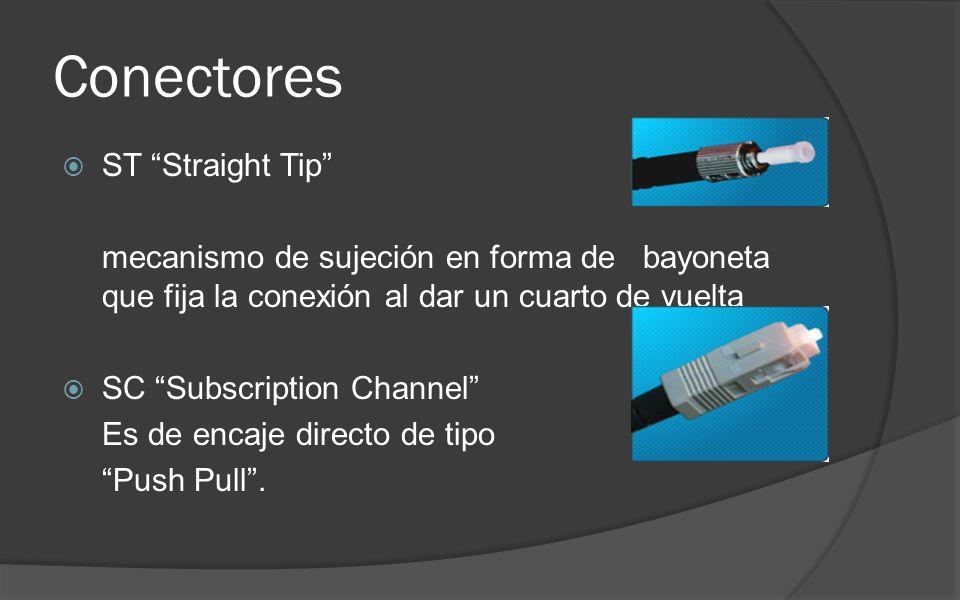 Conectores ST Straight Tip mecanismo de sujeción en forma de bayoneta que fija la conexión al dar un cuarto de vuelta SC Subscription Channel Es de encaje directo de tipo Push Pull.