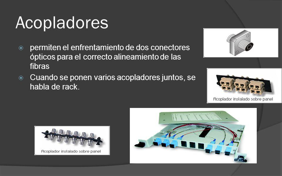Acopladores permiten el enfrentamiento de dos conectores ópticos para el correcto alineamiento de las fibras Cuando se ponen varios acopladores juntos, se habla de rack.