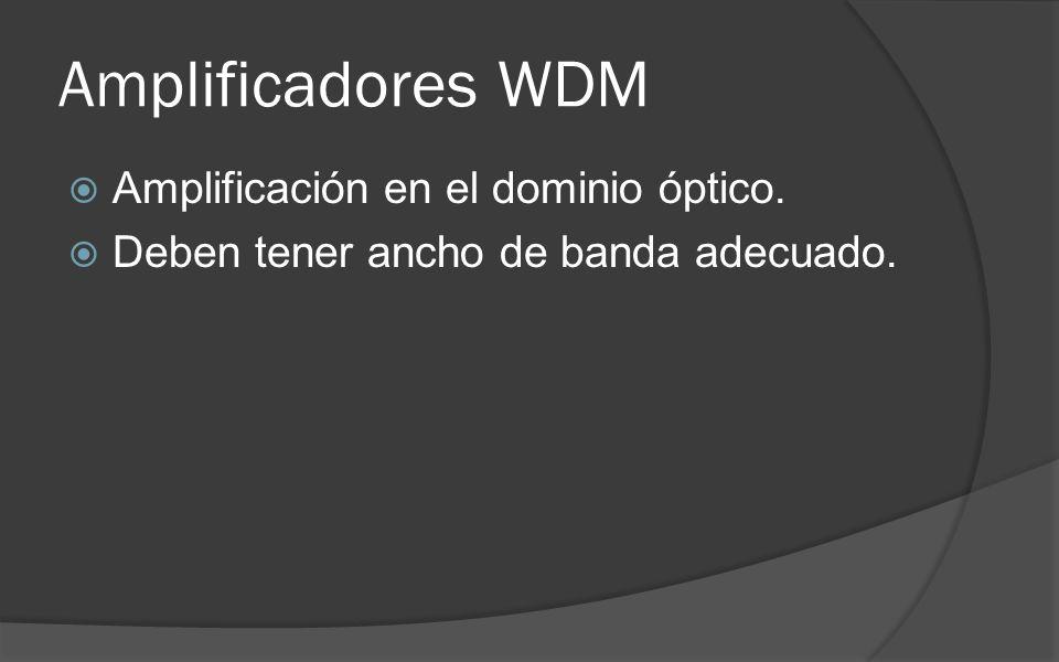 Amplificadores WDM Amplificación en el dominio óptico. Deben tener ancho de banda adecuado.