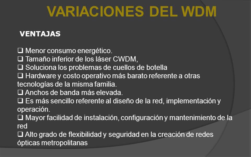 VARIACIONES DEL WDM VENTAJAS Menor consumo energético. Tamaño inferior de los láser CWDM, Soluciona los problemas de cuellos de botella Hardware y cos