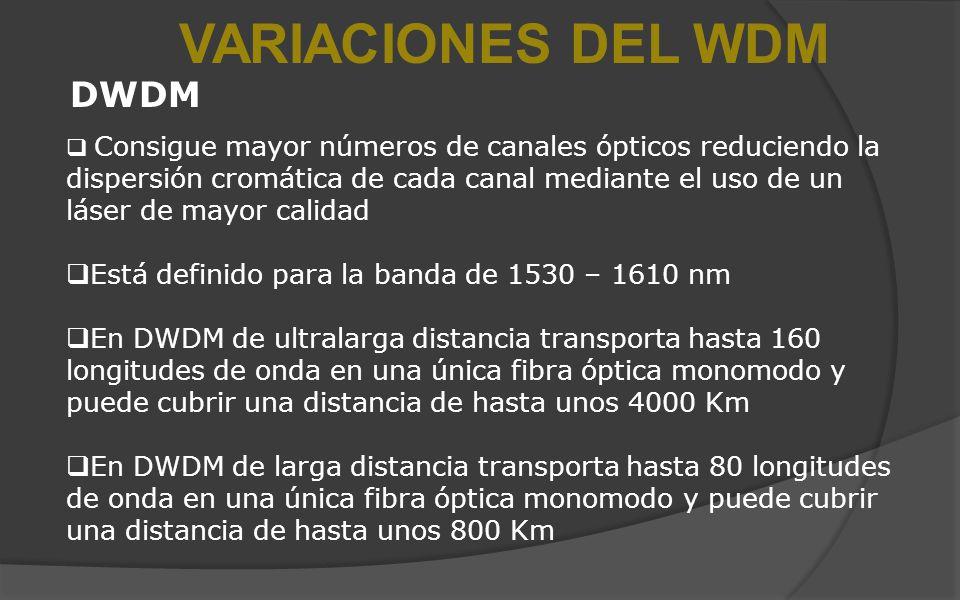 VARIACIONES DEL WDM DWDM Consigue mayor números de canales ópticos reduciendo la dispersión cromática de cada canal mediante el uso de un láser de may
