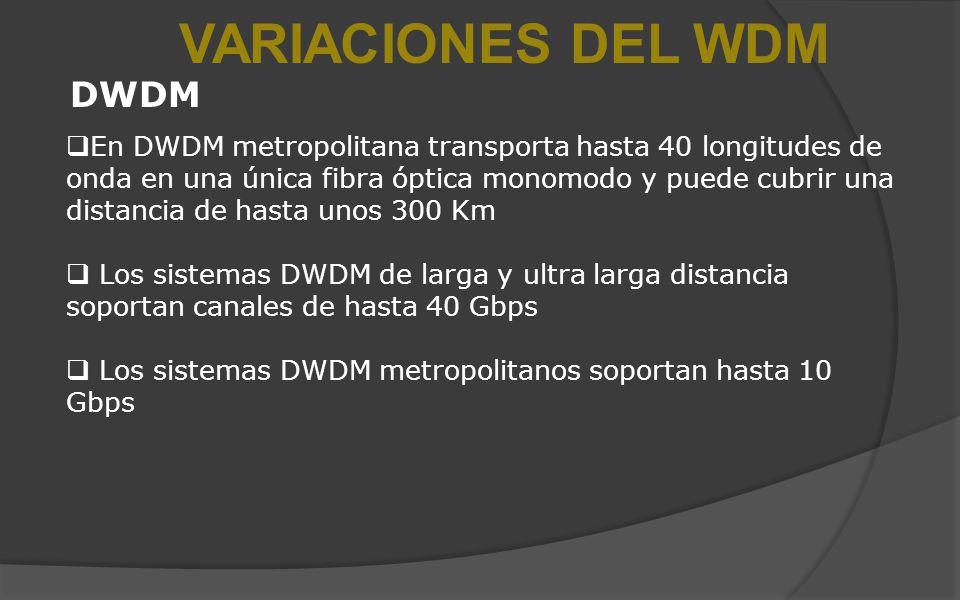 VARIACIONES DEL WDM DWDM En DWDM metropolitana transporta hasta 40 longitudes de onda en una única fibra óptica monomodo y puede cubrir una distancia de hasta unos 300 Km Los sistemas DWDM de larga y ultra larga distancia soportan canales de hasta 40 Gbps Los sistemas DWDM metropolitanos soportan hasta 10 Gbps