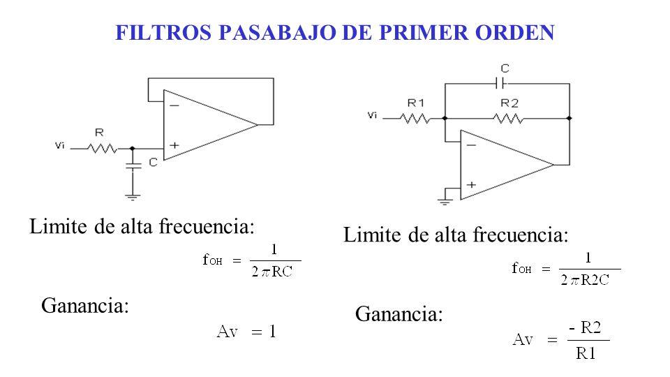 FILTROS PASABAJO DE PRIMER ORDEN Limite de alta frecuencia: Ganancia: Limite de alta frecuencia: Ganancia: