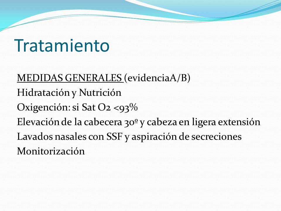 Tratamiento MEDIDAS GENERALES (evidenciaA/B) Hidratación y Nutrición Oxigención: si Sat O2 <93% Elevación de la cabecera 30º y cabeza en ligera extens