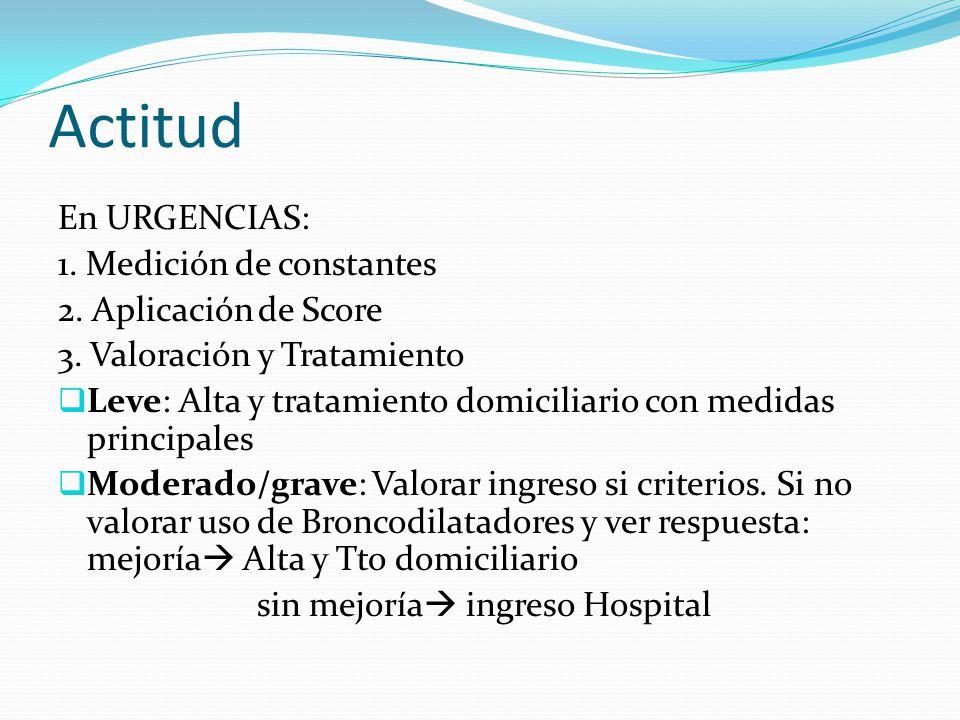 Actitud En URGENCIAS: 1. Medición de constantes 2. Aplicación de Score 3. Valoración y Tratamiento Leve: Alta y tratamiento domiciliario con medidas p